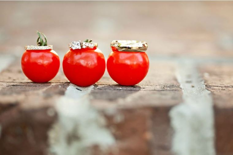 Wedding Rings on Tomatoes