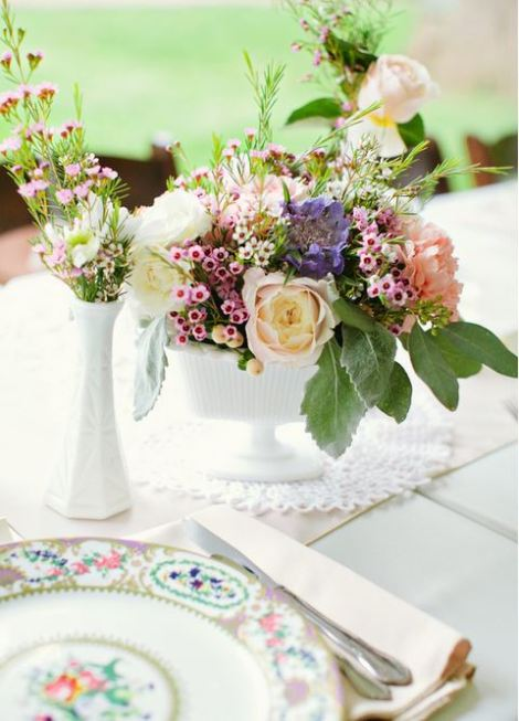 milk glass wedding centerpiece