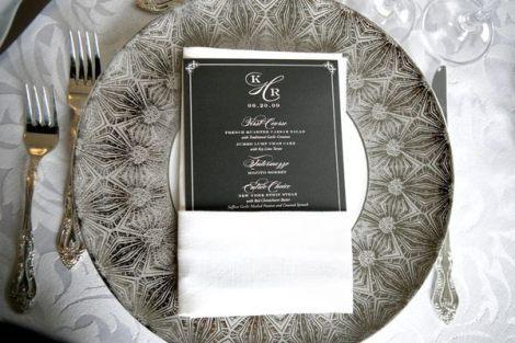 black lace wedding place setting