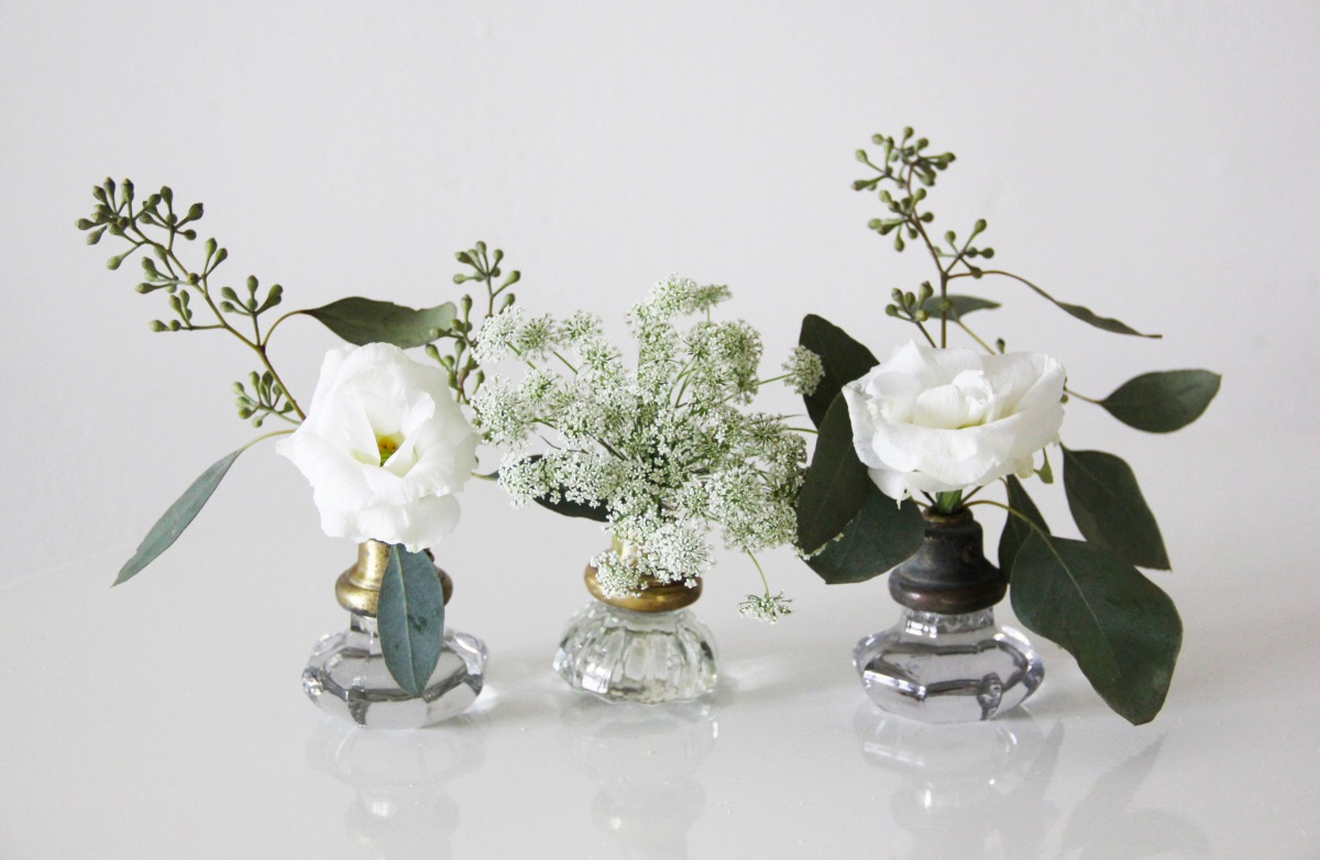 DIY:  Glass Door Knob Bud Vases featured on Wedding Chicks
