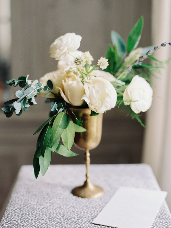 Ciara Richardson Photography Vintage Brass Centerpiece Idea