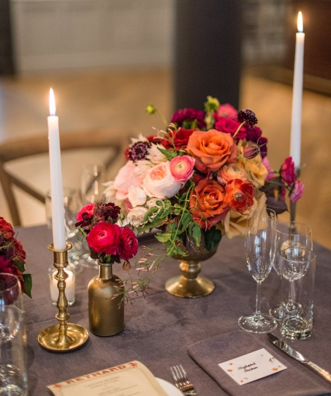 brass candlestick rental little vintage rentals - leila brewster photography - tin can studios floral design